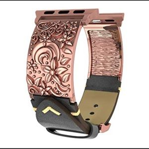 Floral Vintage Bronze Leather Apple Watch Band 38